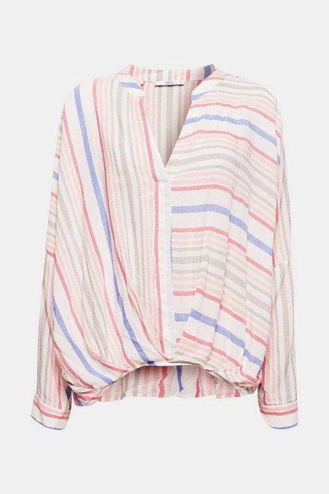 Damen EDC BY ESPRIT Drapierte Bluse mit Streifen und Turn-up-Ärmeln blau, weiß | 04061354497119