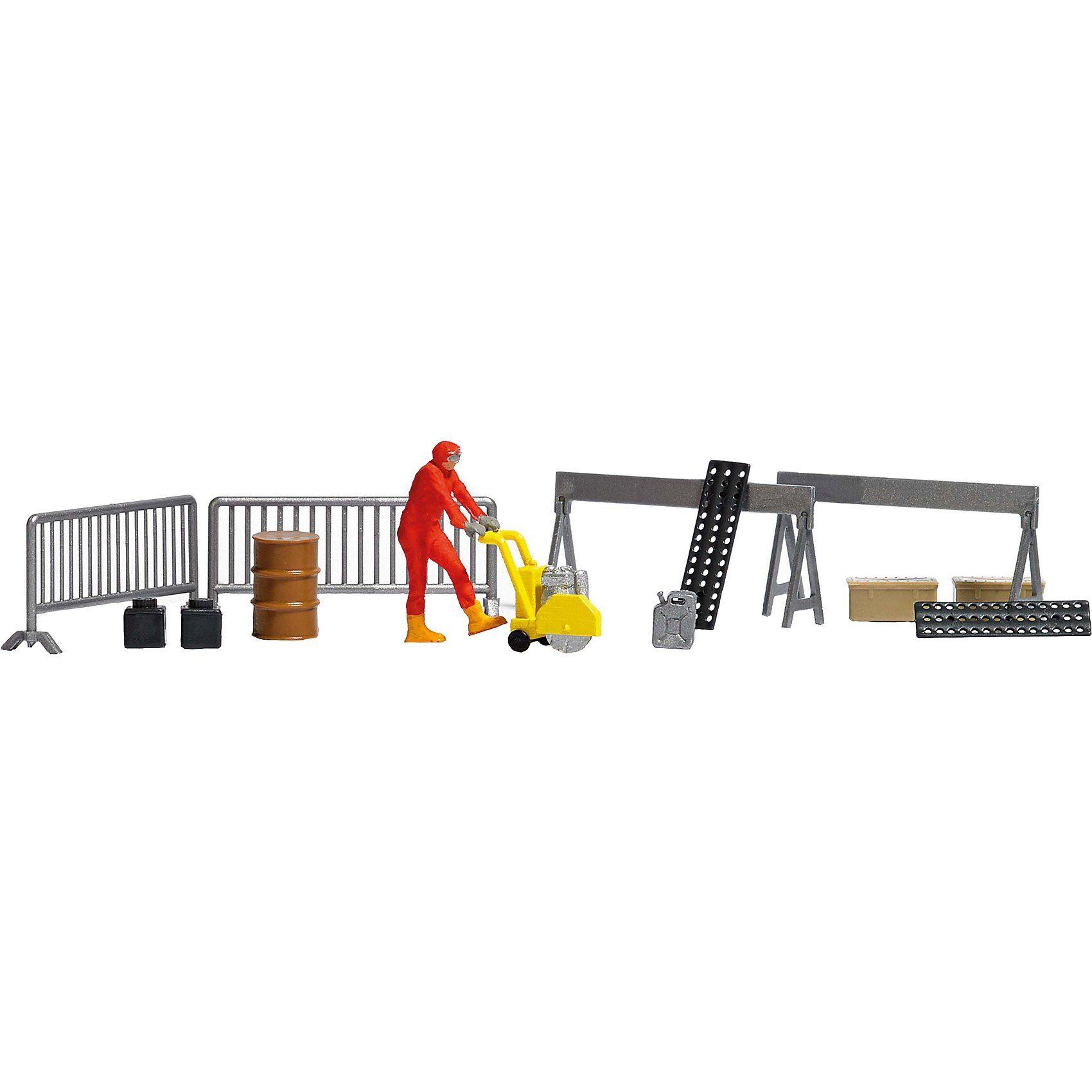 Busch A-Set: Asphaltsäge/Figur H0