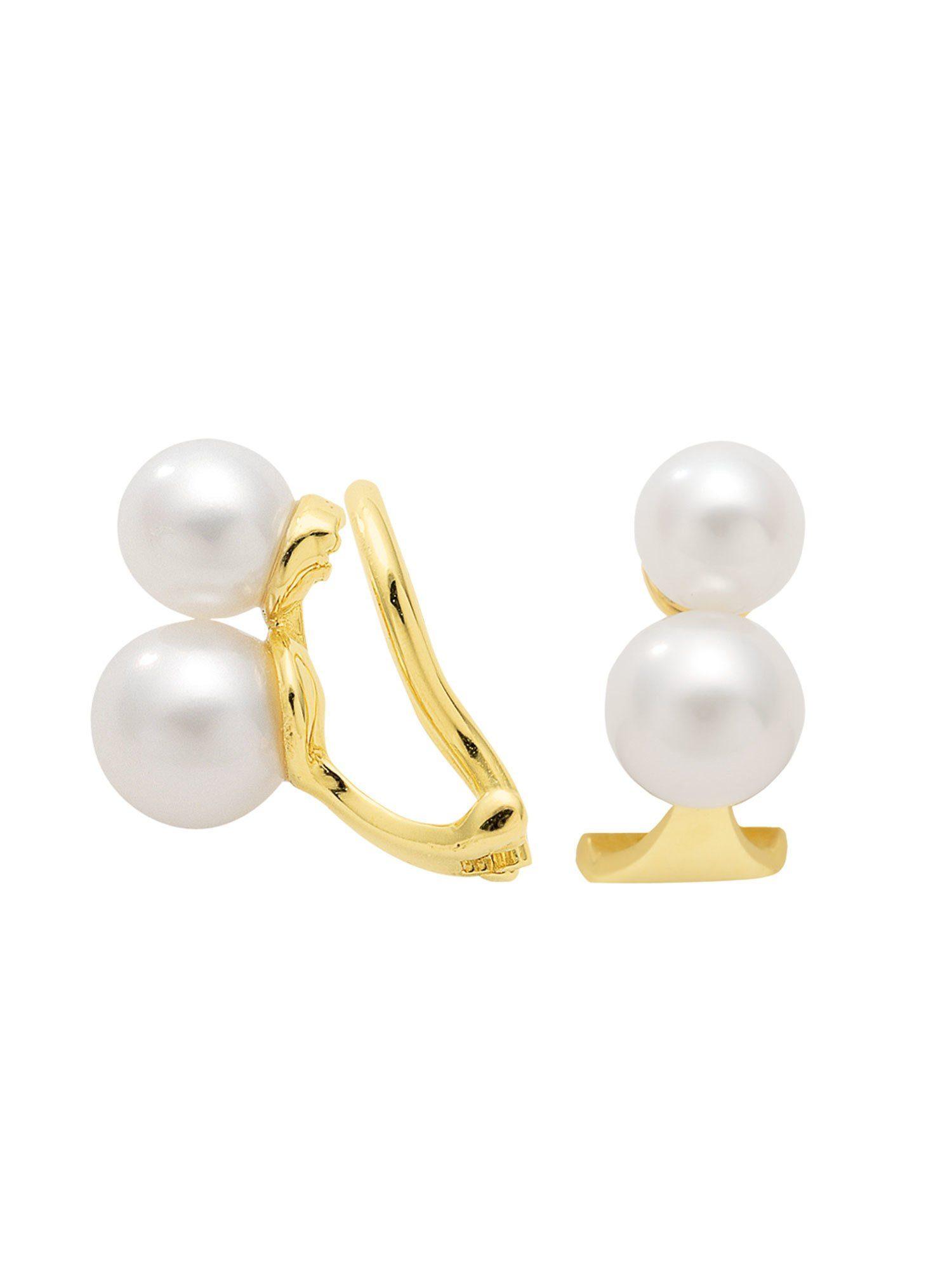 Adelia´s Paar Ohrclips »Gold Ohrringe«, 14 k 585 mit Süßwasserperle