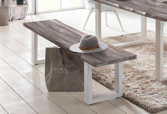 Home affaire Sitzbank »Maryland«, mit Baumkantenoptik und weißem Metallgestell
