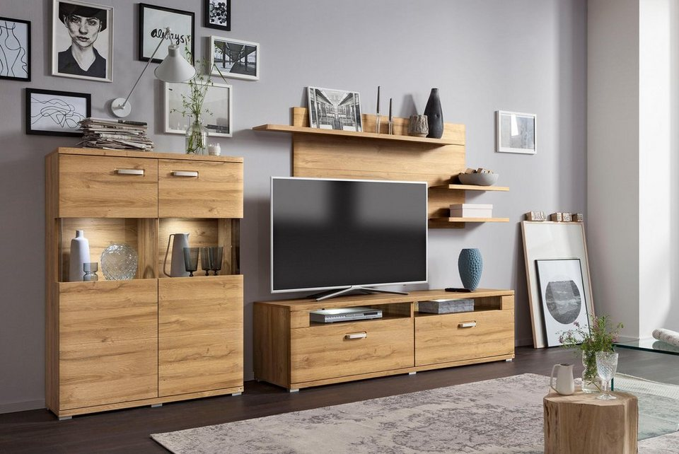 set one by musterring wohnwand madison 3 tlg otto. Black Bedroom Furniture Sets. Home Design Ideas