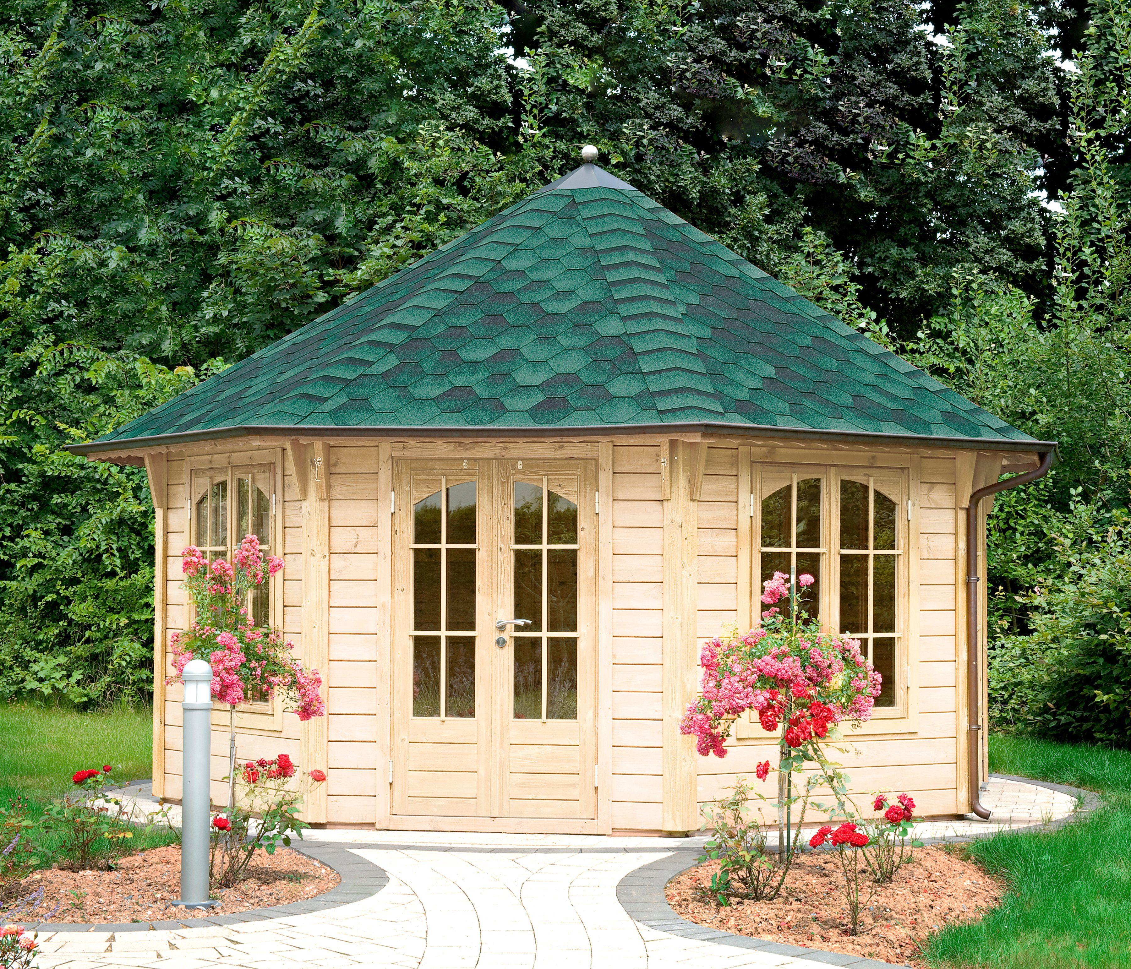 WOLFF Holzpavillon »Palermo 4.5«, BxT: 534x534 cm, mit grün-schwarzen Schindeln
