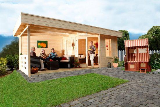 WOLFF FINNHAUS Gartenhaus »Nina 28-B«, BxT: 640x340 cm, inkl. Fußboden und Anbaudach mit Rückwand