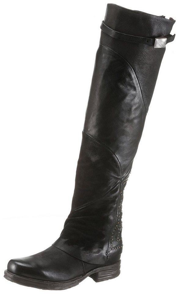 A.S.98 Overkneestiefel in aufwendiger Patchwork Verarbeitung   Schuhe > Stiefel > Overknees   Schwarz   A.S.98