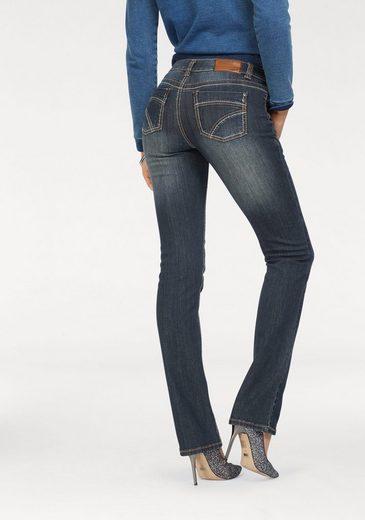 Gerade Jeans Arizona Mid »kontrastnähte« Waist faTaw4gqx