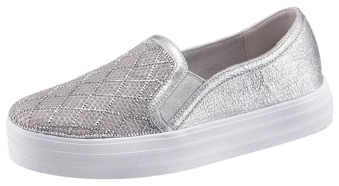 Damen Skechers Street Double Up Slip-On Sneaker mit schönen Glitzersteinchen silber | 00192283288791