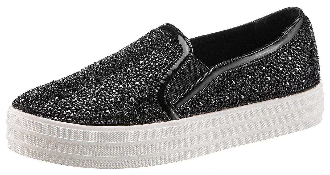 Damen Skechers Street Double Up – Glitzy Gal Slip-On Sneaker mit Allover-Glitzersteinchen schwarz | 00191665904014
