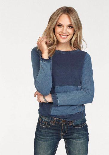 Arizona Sweatshirt »im Denim-Look« mit Patch-Einsätzen