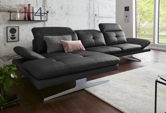 exxpo - sofa fashion Ecksofa, inkl. Kopf- bzw. Rückenverstellung und Armlehnenverstellung
