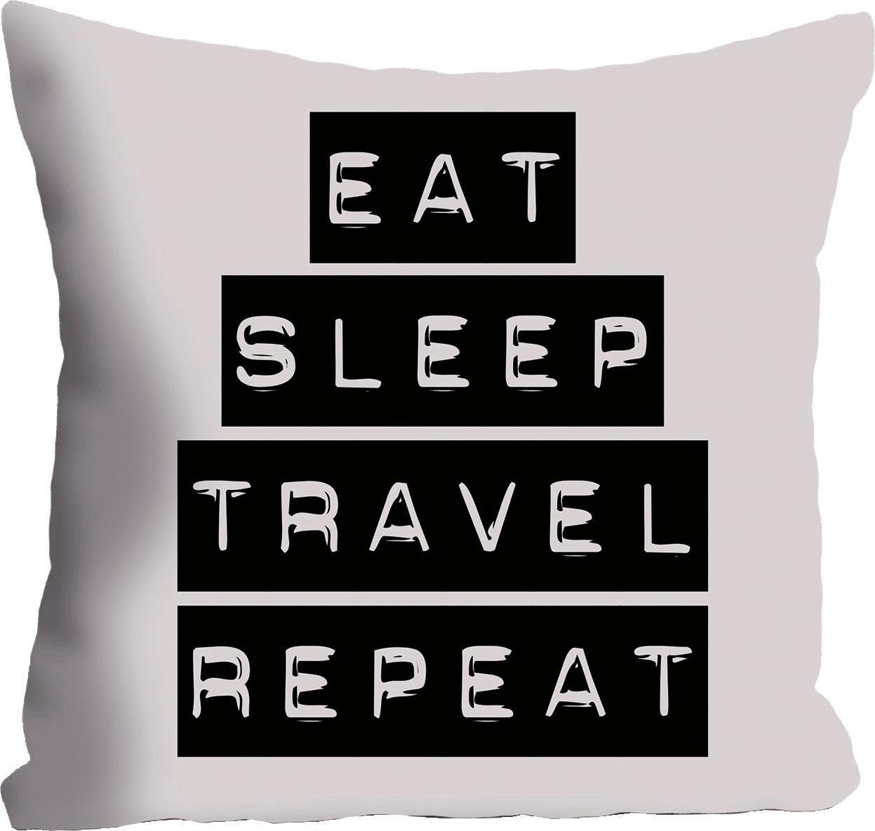 Kissenhülle »Eat, Sleep, Travel, Repeat« 40/40 cm