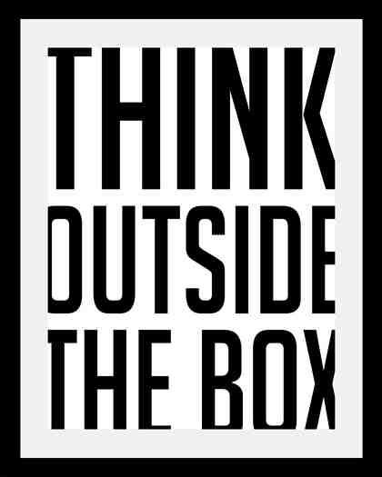 Bild mit Rahmen »Think outside« in 3 Größen
