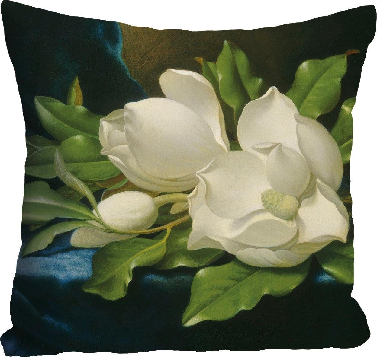 Kissenhülle »weiße Blüte« 40/40 cm