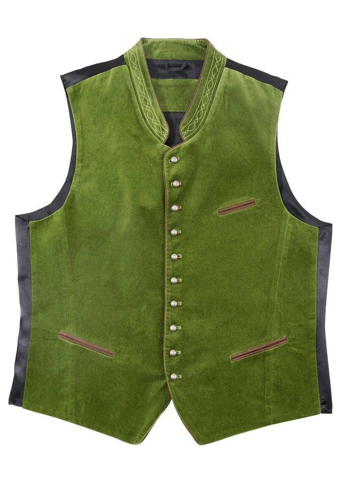 Trachtenweste mit Stehkragen und dekorativem Stick | Bekleidung > Westen > Trachtenwesten | Grün | OTTO