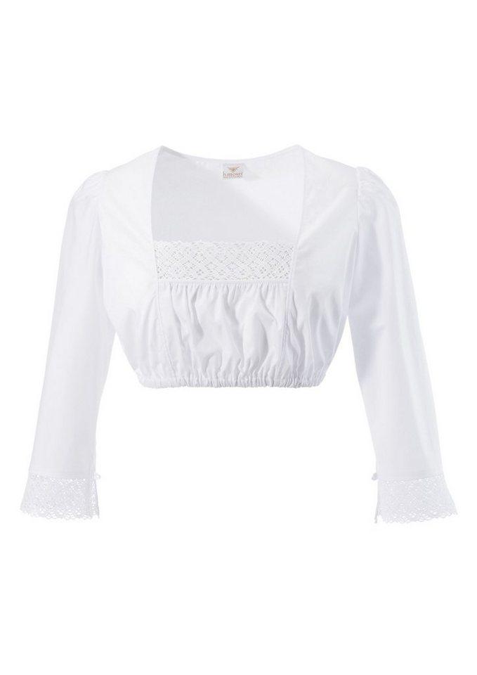 Damen H. Moser Dirndlbluse mit dekorativer Spitzenborte weiß | 04047899873083