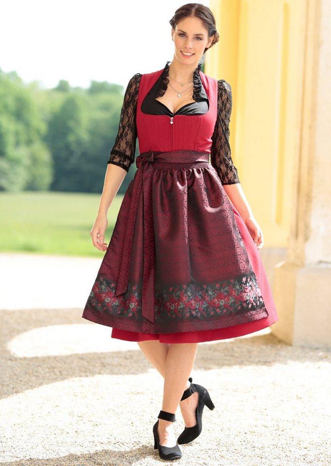 Damen Turi Landhaus Dirndl midi mit Paspualeinfassungen am Oberteil rot | 04012043556570