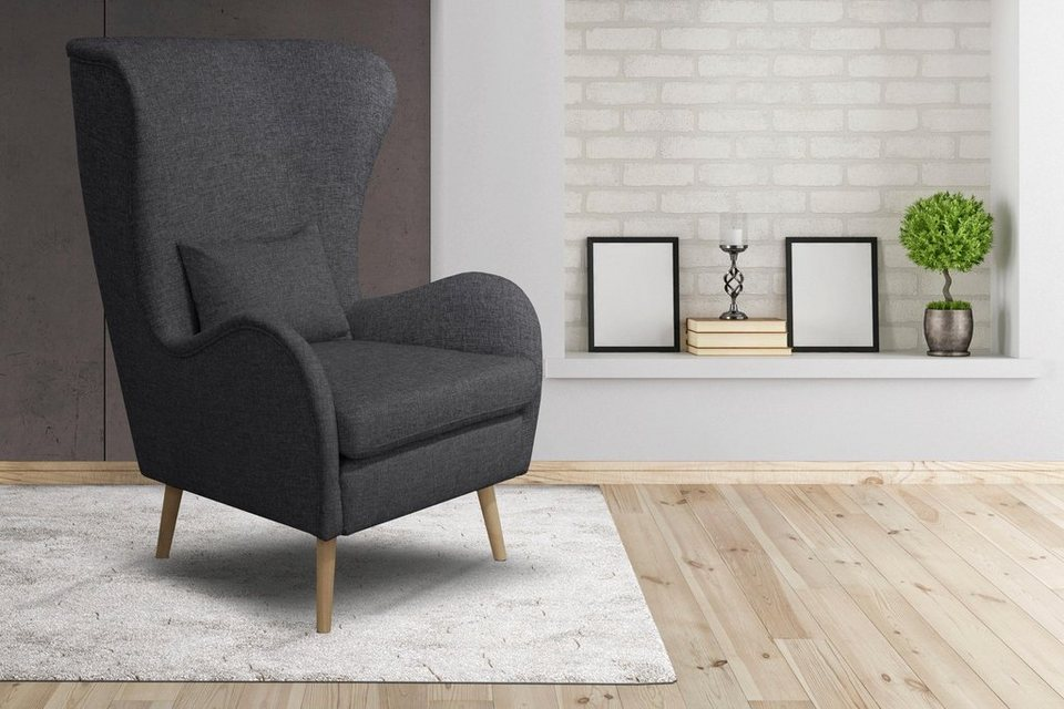home affaire sessel tivat wahlweise mit hocker mit beinen aus buchenholz und zierkissen. Black Bedroom Furniture Sets. Home Design Ideas