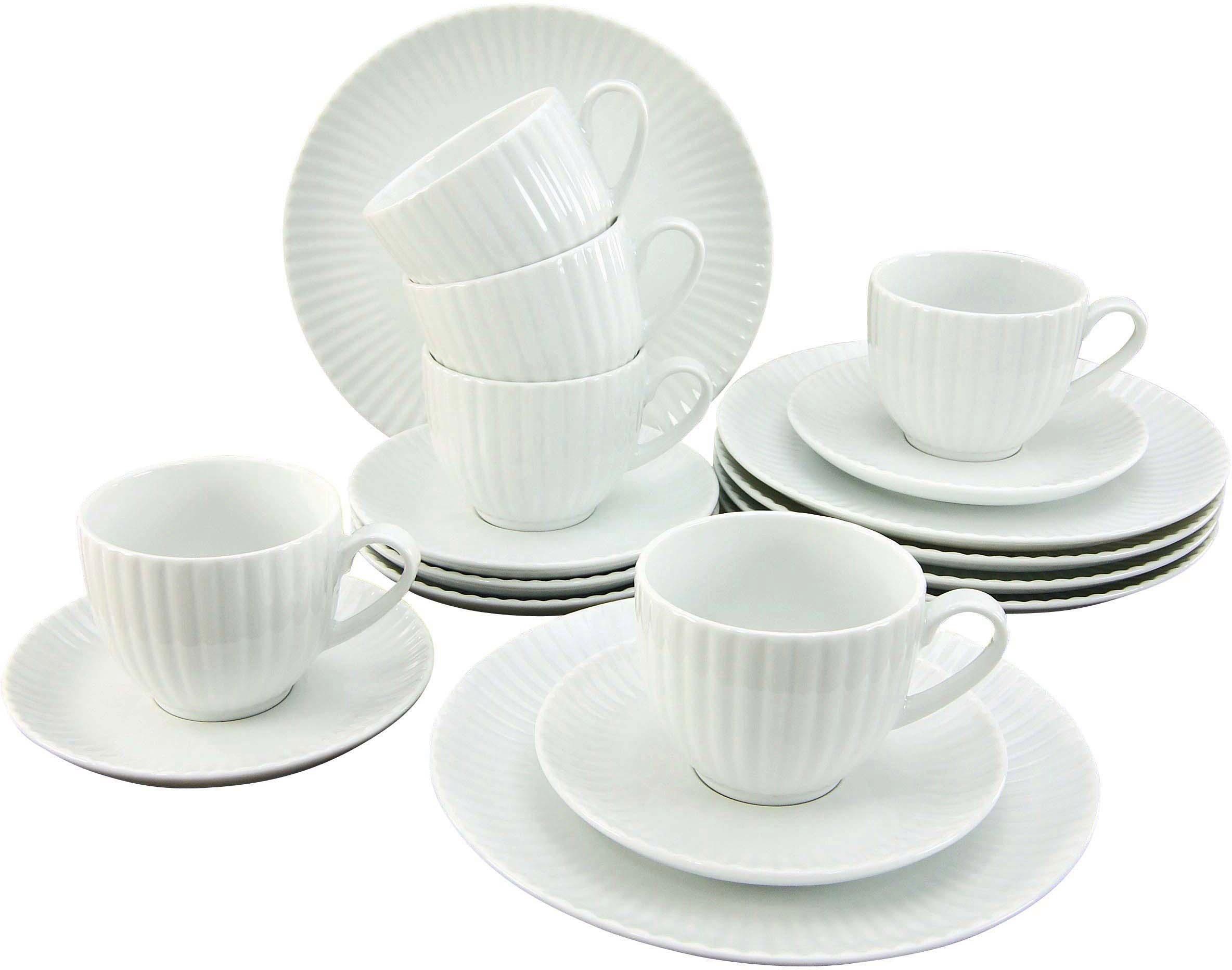 CreaTable Kaffeeservice »ALLEGRA« (18-tlg), Porzellan, Mikrowellengeeignet