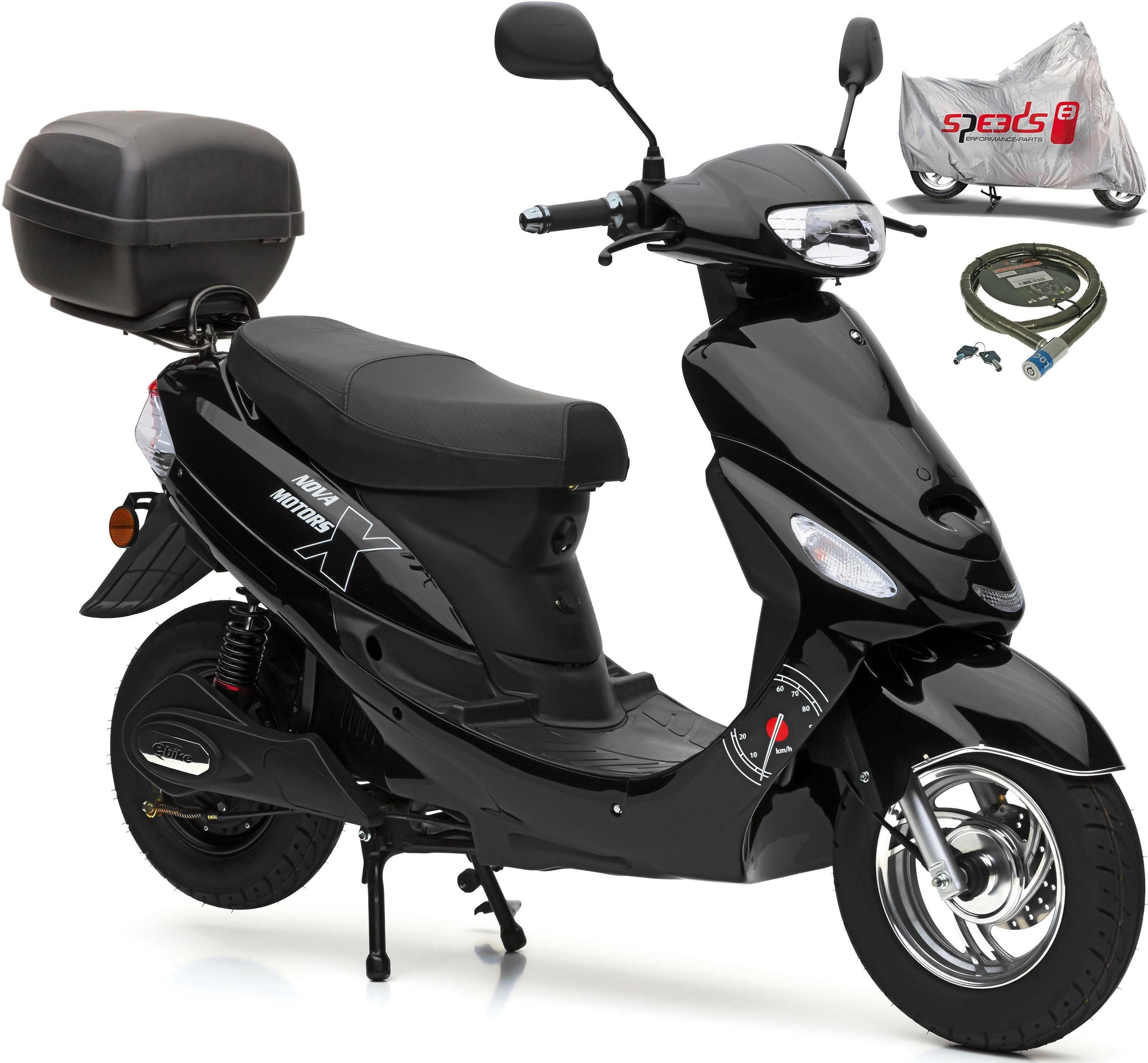 Nova Motors E-Motorroller »Eco Star«, 2000 W, 45 km/h, (Set, 4 tlg., mit Faltgarage, Panzerkettenschloß und Topcase)