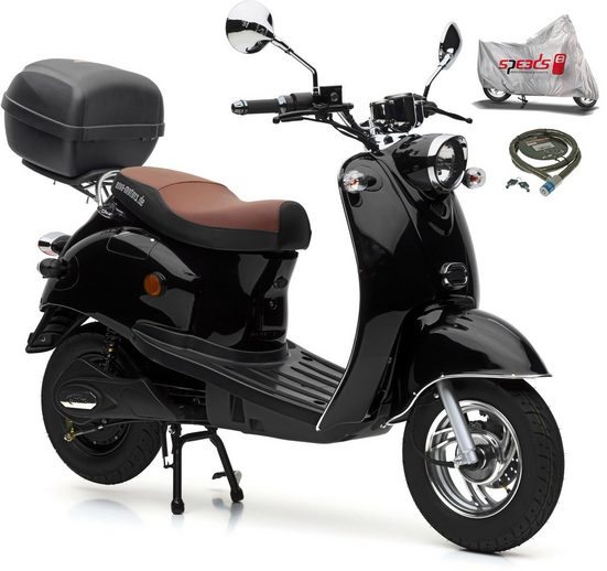 Nova Motors E-Motorroller »Venezia«, 2000 W, 45 km/h, (Set, 4 tlg., mit Faltgarage, Panzerkettenschloß und Topcase)