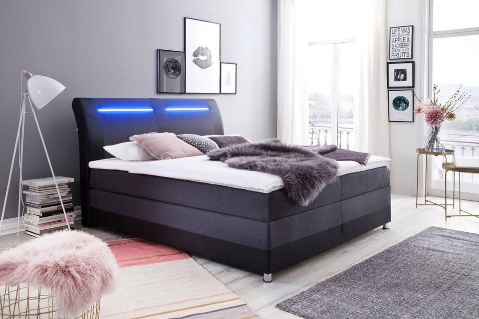 boxspringbett mit led beleuchtung und topper online kaufen otto. Black Bedroom Furniture Sets. Home Design Ideas