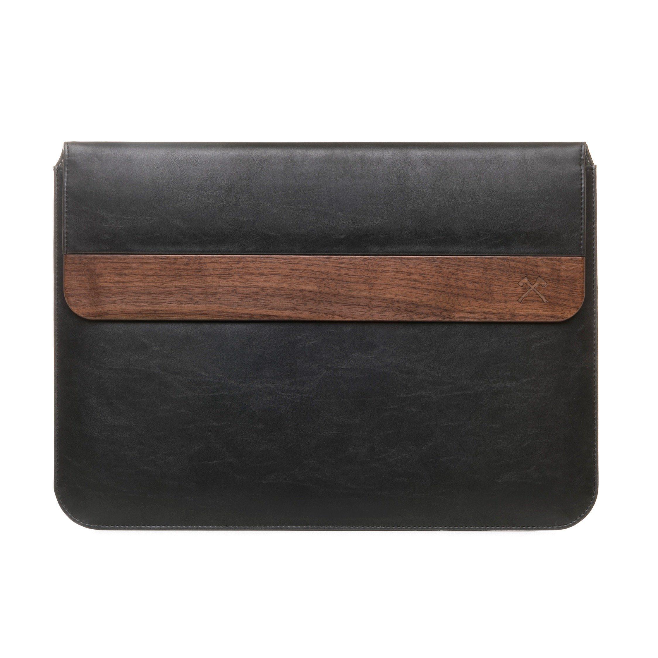 Woodcessories EcoPouch - MacBook Tasche 13 Zoll Echtholz/Kunstleder - Schwarz