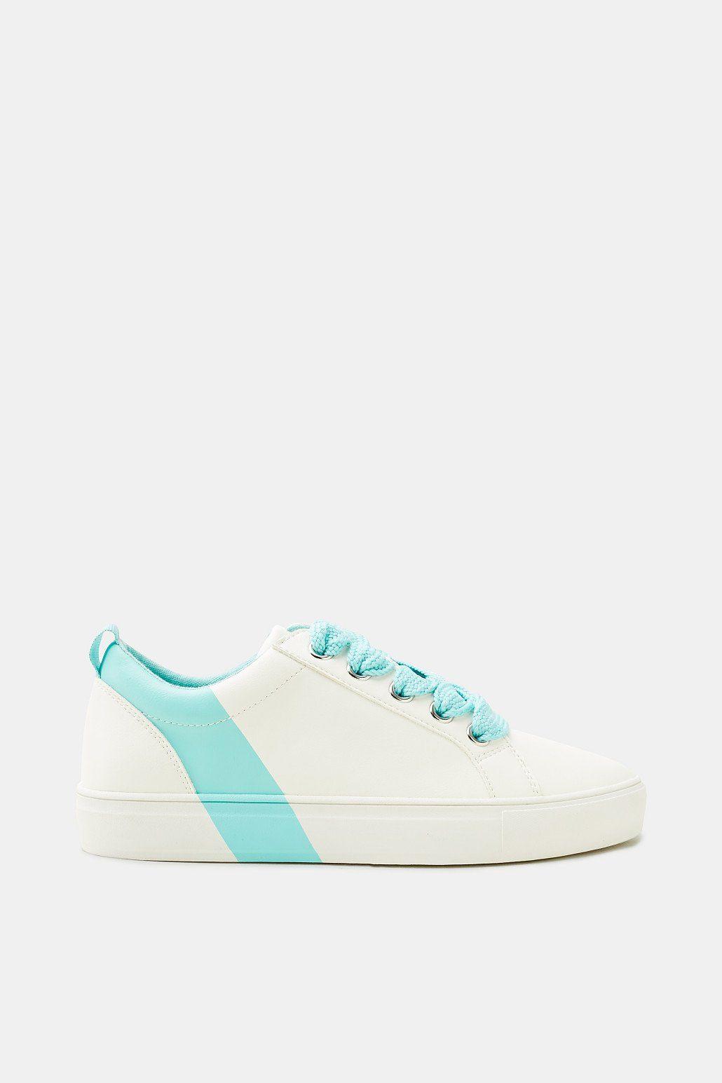 Esprit Sneaker mit Farbakzent, in Leder-Optik für Damen, Größe 37, Aqua Green