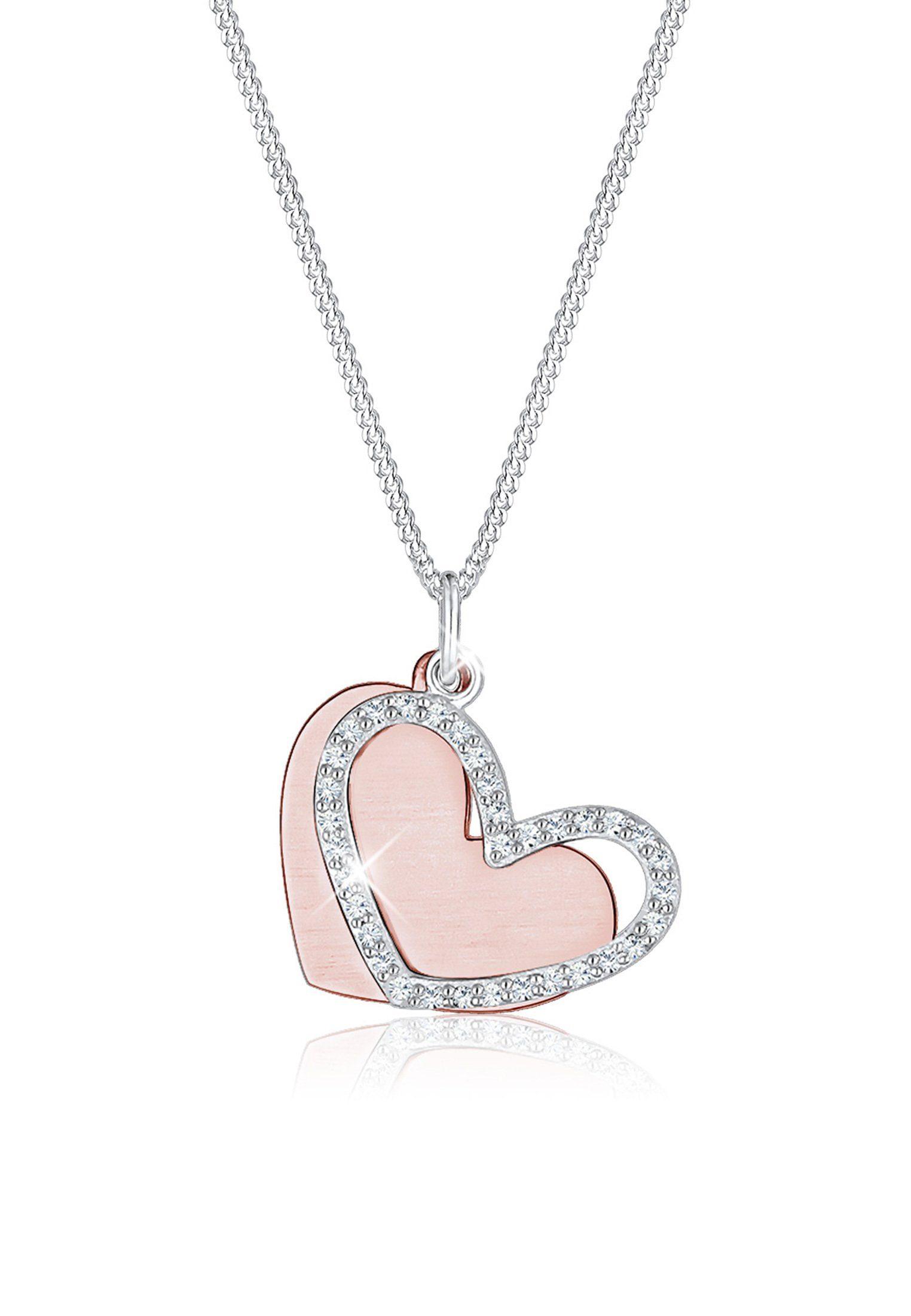 Elli Collierkettchen »Herz Duo Bi Color Swarovski® Kristalle 925 Silber« online kaufen | OTTO