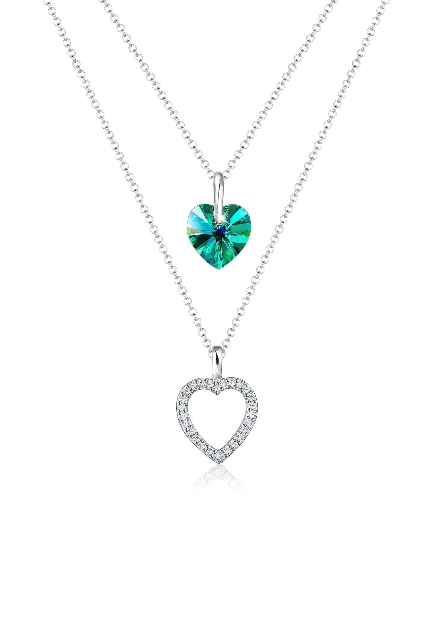 Elli Collierkettchen »Herz Layer Swarovski® Kristalle Cœur 925 Silber«