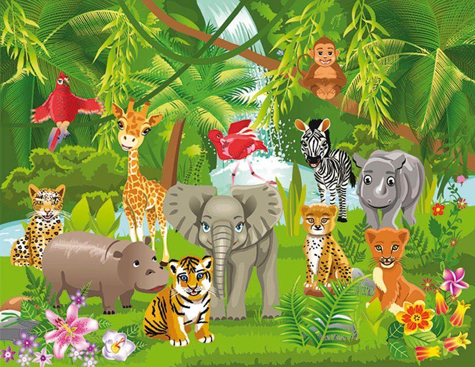 PAPERMOON Fototapete »Kids Jungle Animals«, Vlies, 5 Bahnen, 250 x 180 cm