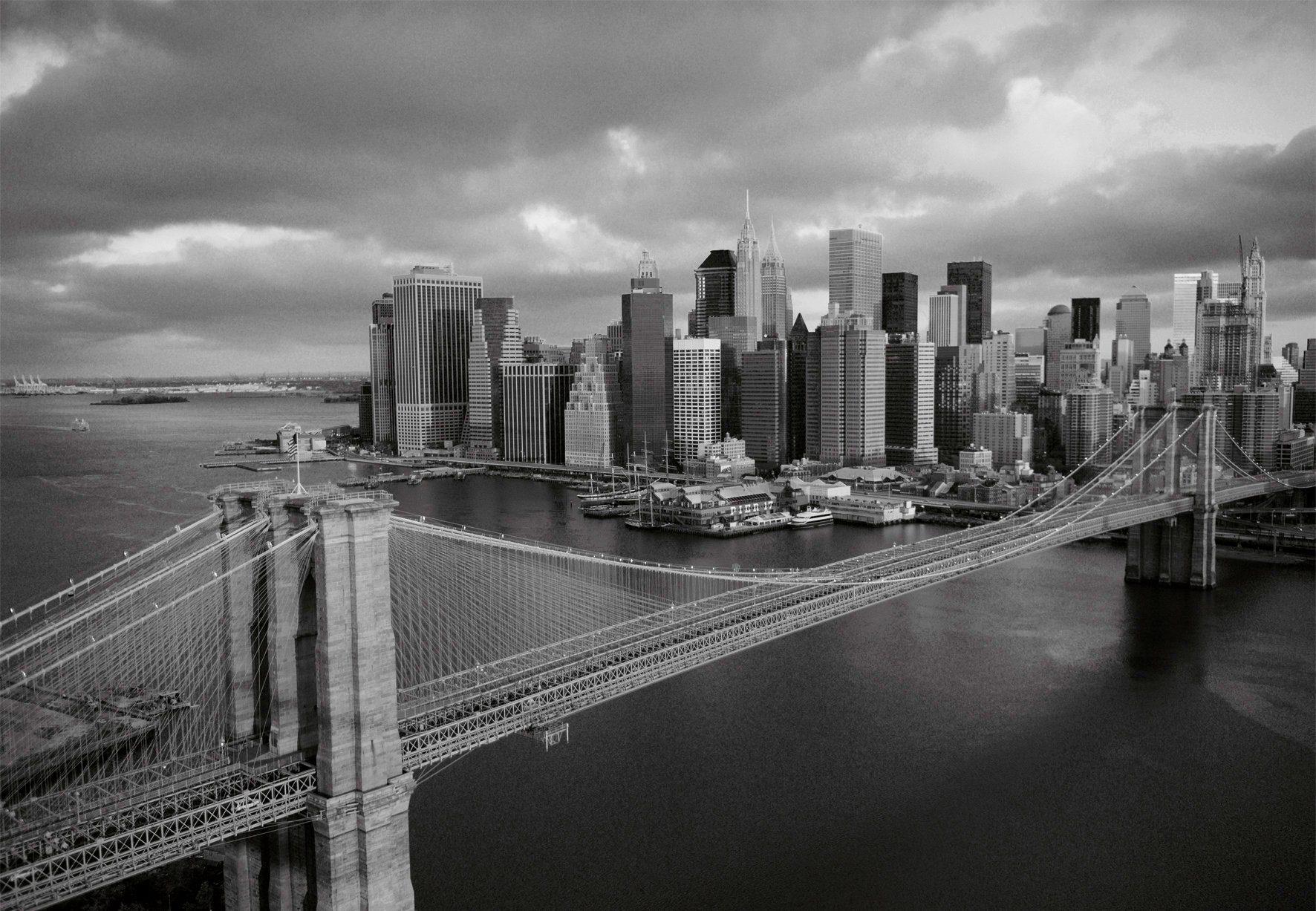 PAPERMOON Fototapete »Brooklyn Bridge black/white«, Vlies, 7 Bahnen, 350 x 260 cm