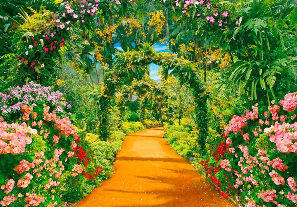 PAPERMOON Fototapete »Flower Alley«, Vlies, 7 Bahnen, 350 x 260 cm