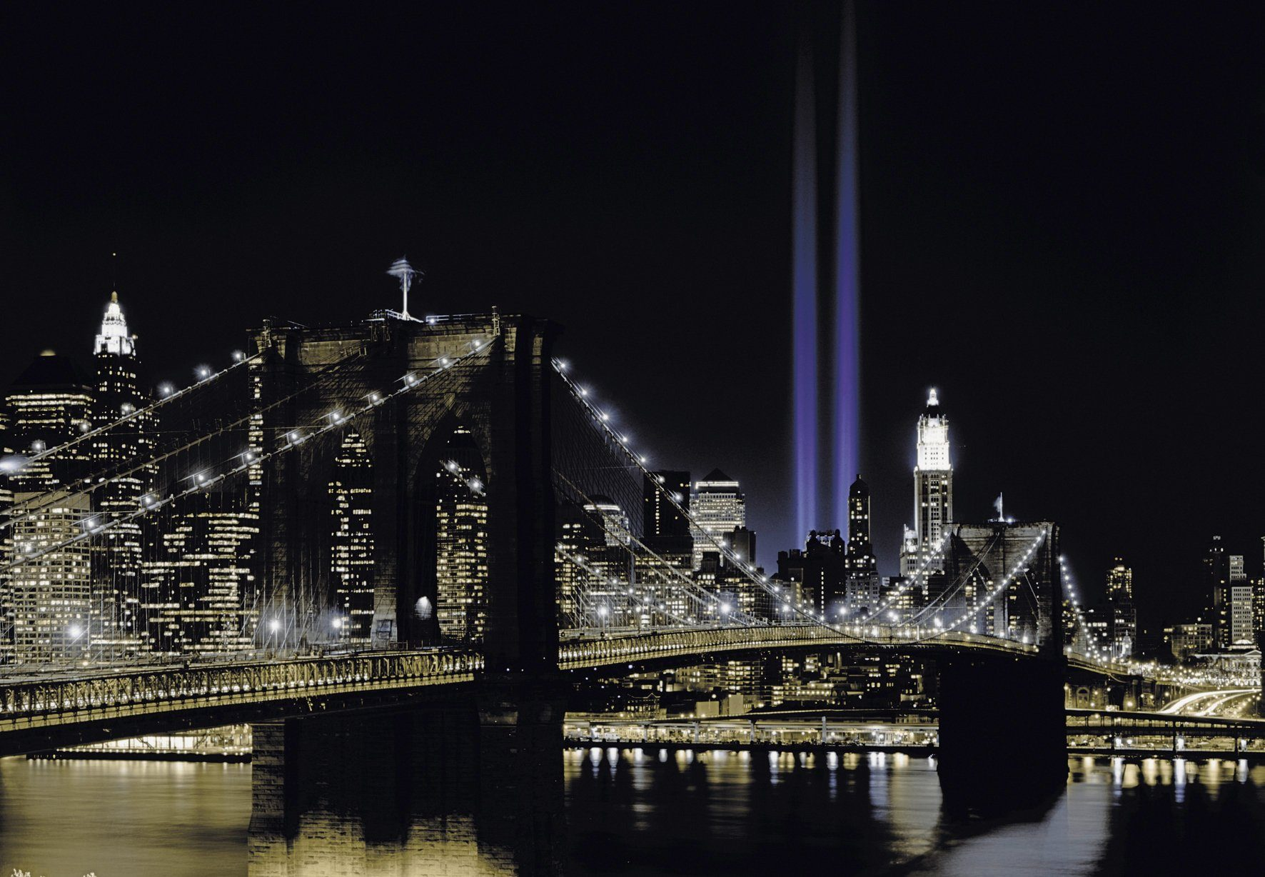 PAPERMOON Fototapete »New York by night«, Vlies, 7 Bahnen, 350 x 260 cm