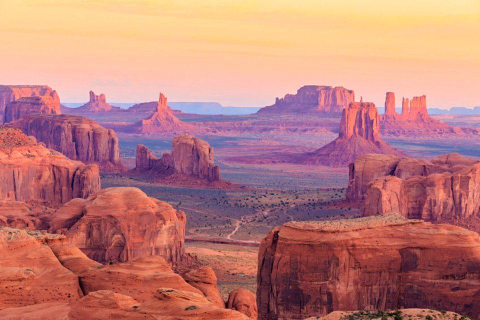 PAPERMOON Fototapete »Hunts Mesa Sunrise«, Vlies, 7 Bahnen, 350 x 260 cm