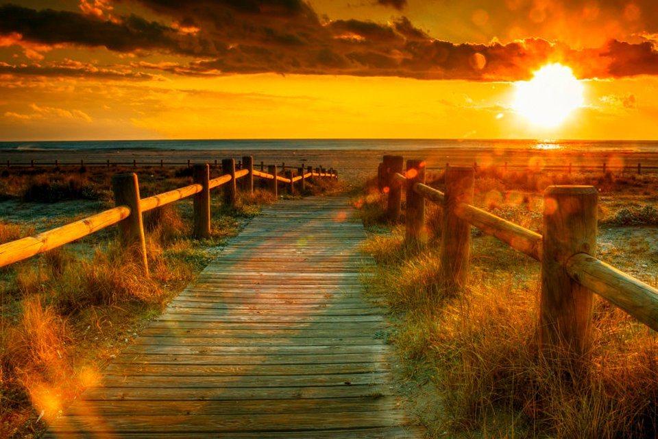 Papermoon Fototapete Sunset Beach Blueback 7 Bahnen 350 X 260 Cm Online Kaufen Otto