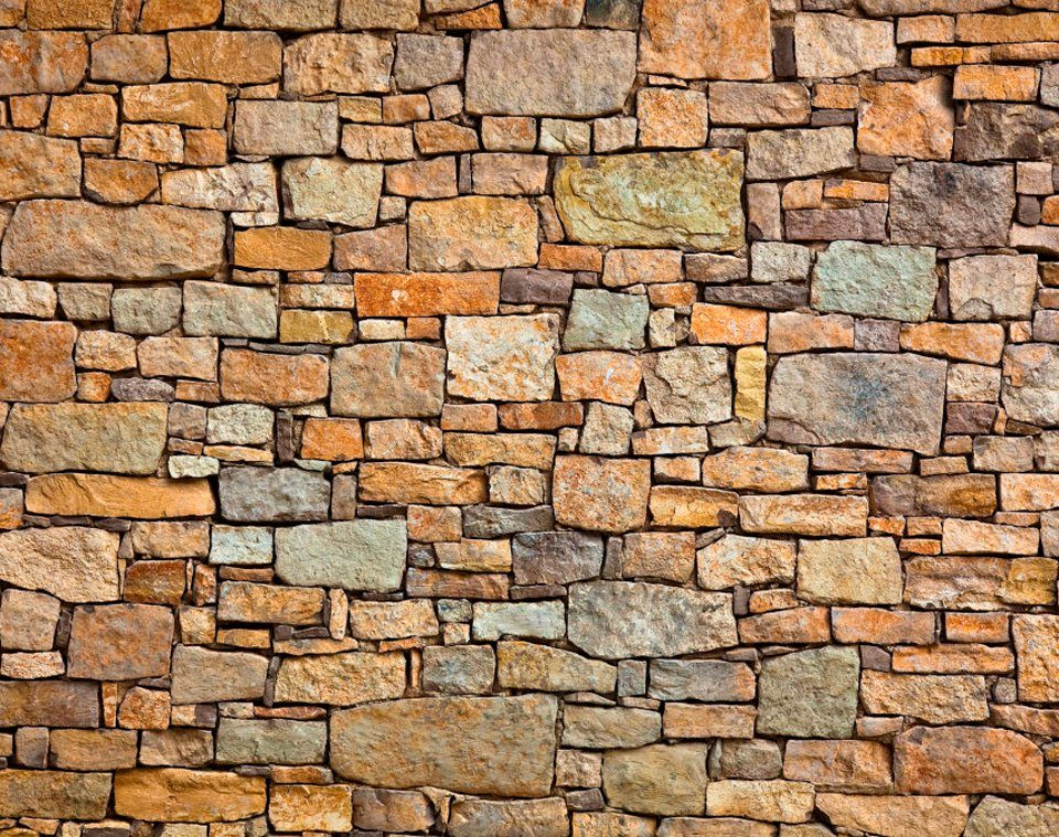 PAPERMOON Fototapete »Stone Wall«, BlueBack, 7 Bahnen, 350 x 260 cm