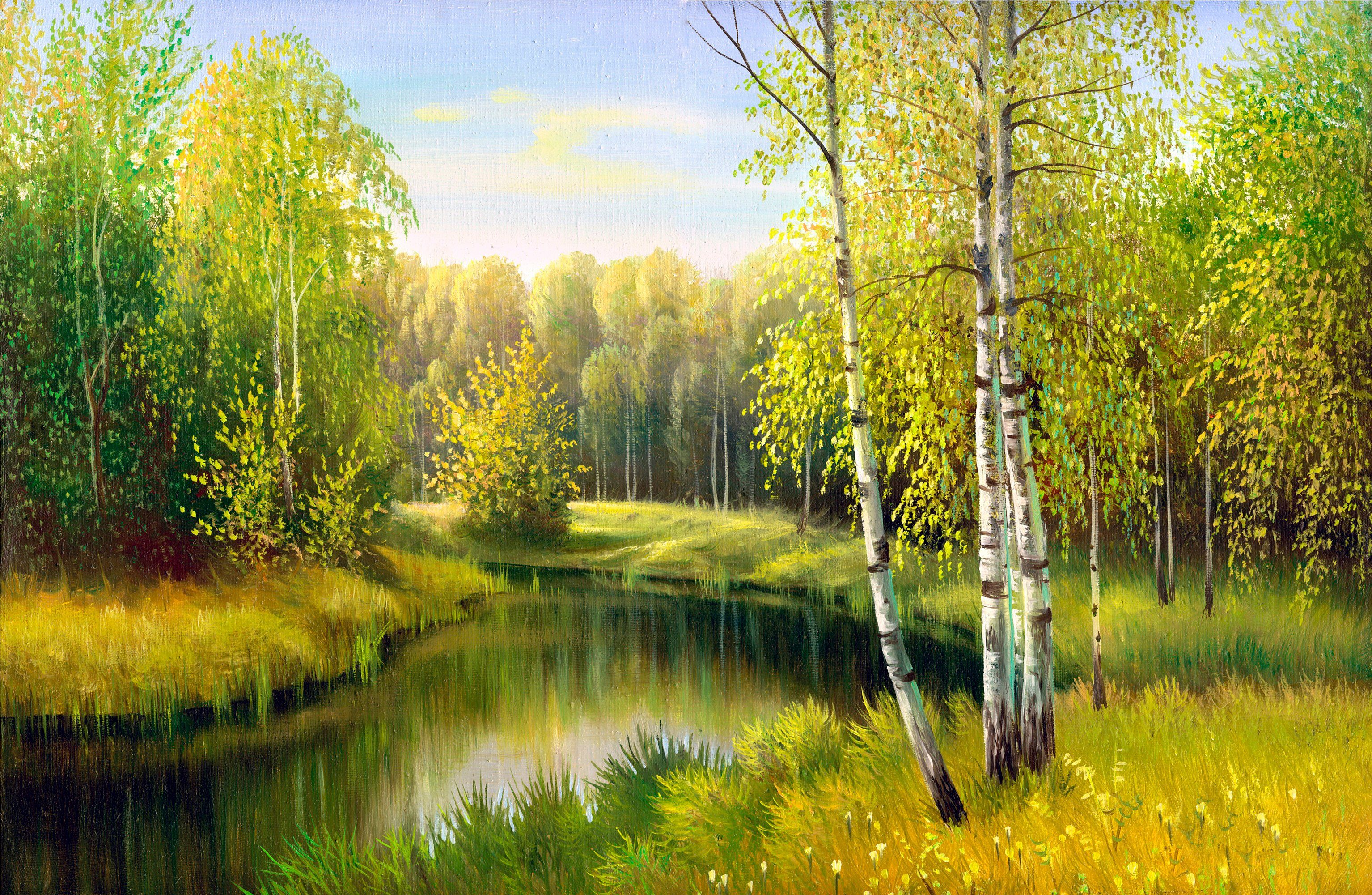 PAPERMOON Fototapete »River in Autumn Day«, BlueBack, 7 Bahnen, 350 x 260 cm