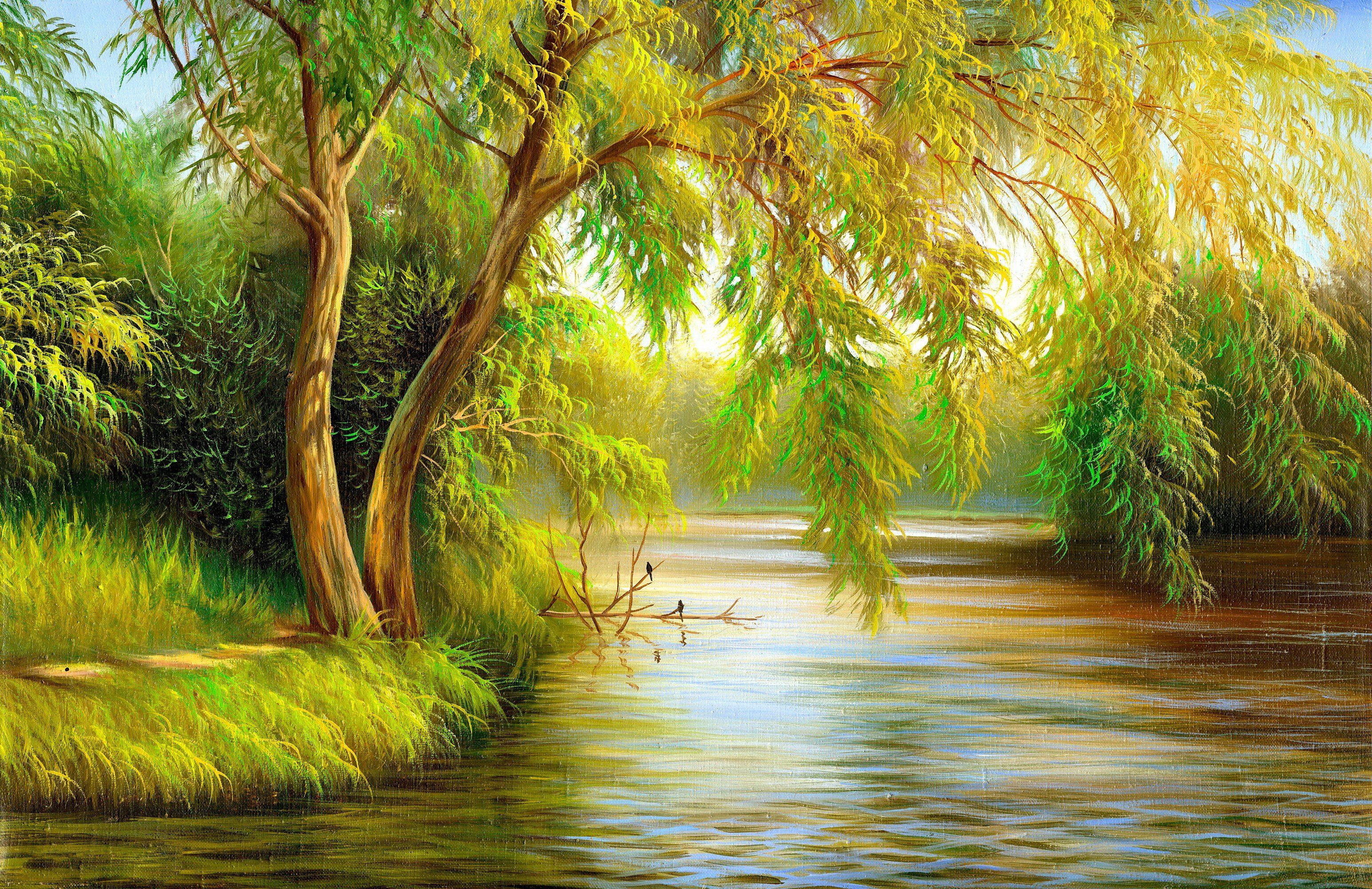 PAPERMOON Fototapete »Summer Wood Lake«, BlueBack, 7 Bahnen, 350 x 260 cm