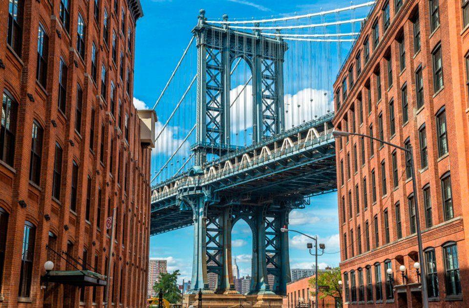 PAPERMOON Fototapete »Brooklyn Dumbo Area«, BlueBack, 7 Bahnen, 350 x 260 cm