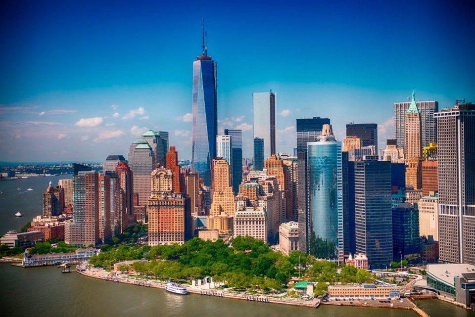 PAPERMOON Fototapete »Lower Manhattan Skyline«, BlueBack, 7 Bahnen, 350 x 260 cm