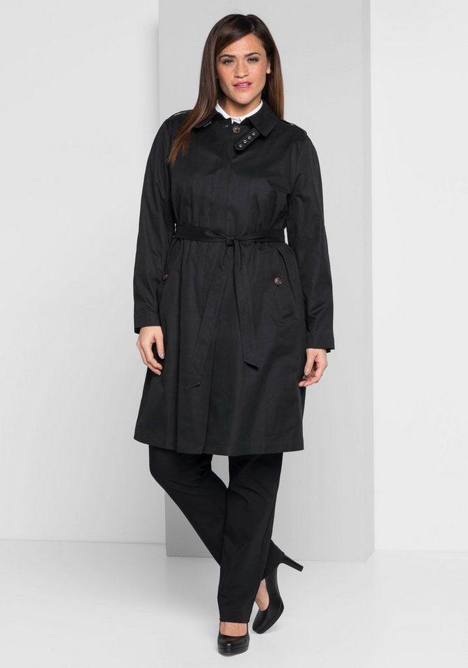 sheego Style Trenchcoat | Bekleidung > Mäntel > Trenchcoats | Schwarz | sheego Style
