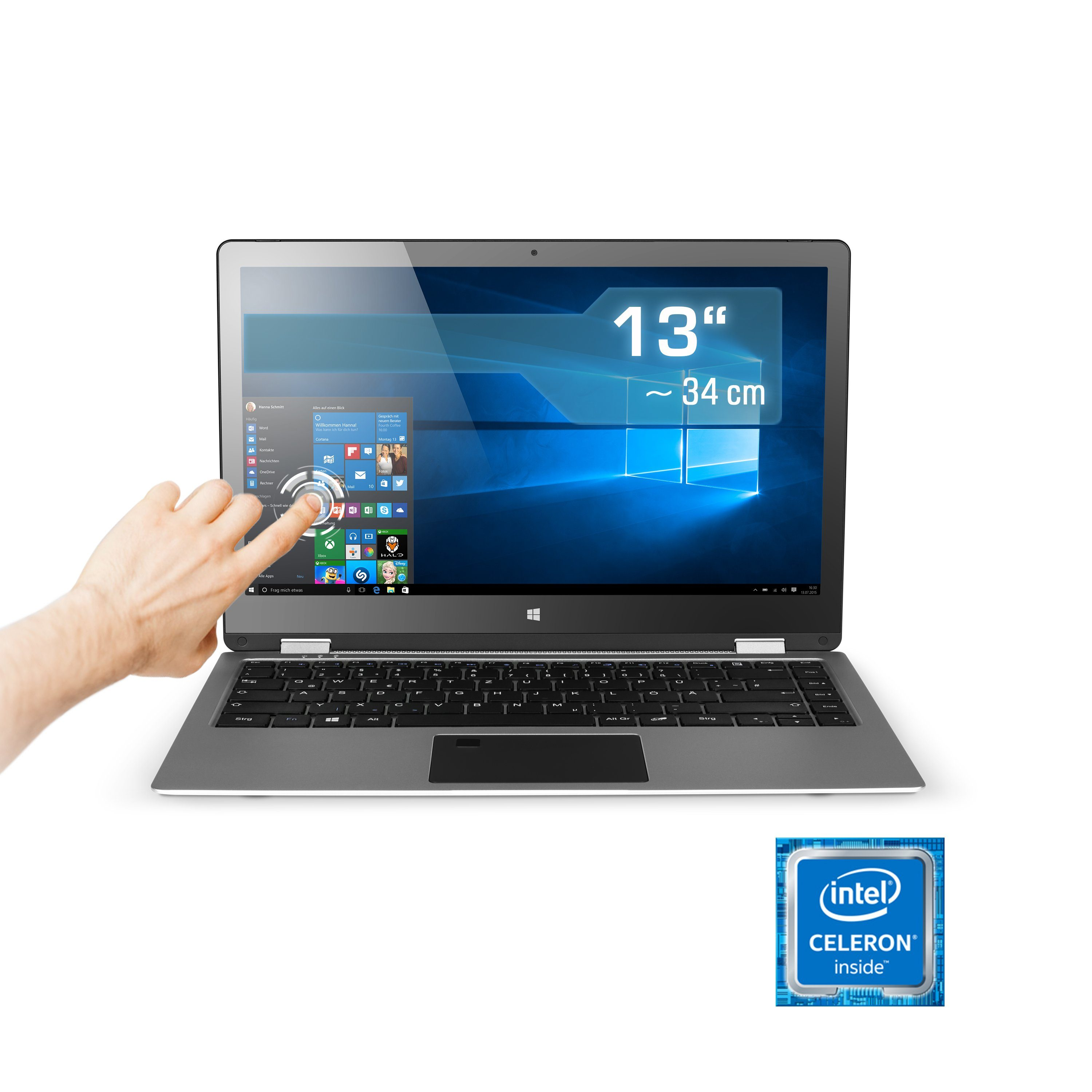 "CSL Notebook | QuadCore | Intel HD | 4 GB RAM | 512GB »R'Evolve 13,3"" Touch-Display / Win 10 Home«"