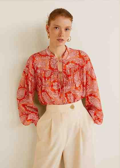 MANGO Paisley-Bluse im Boho-Stil