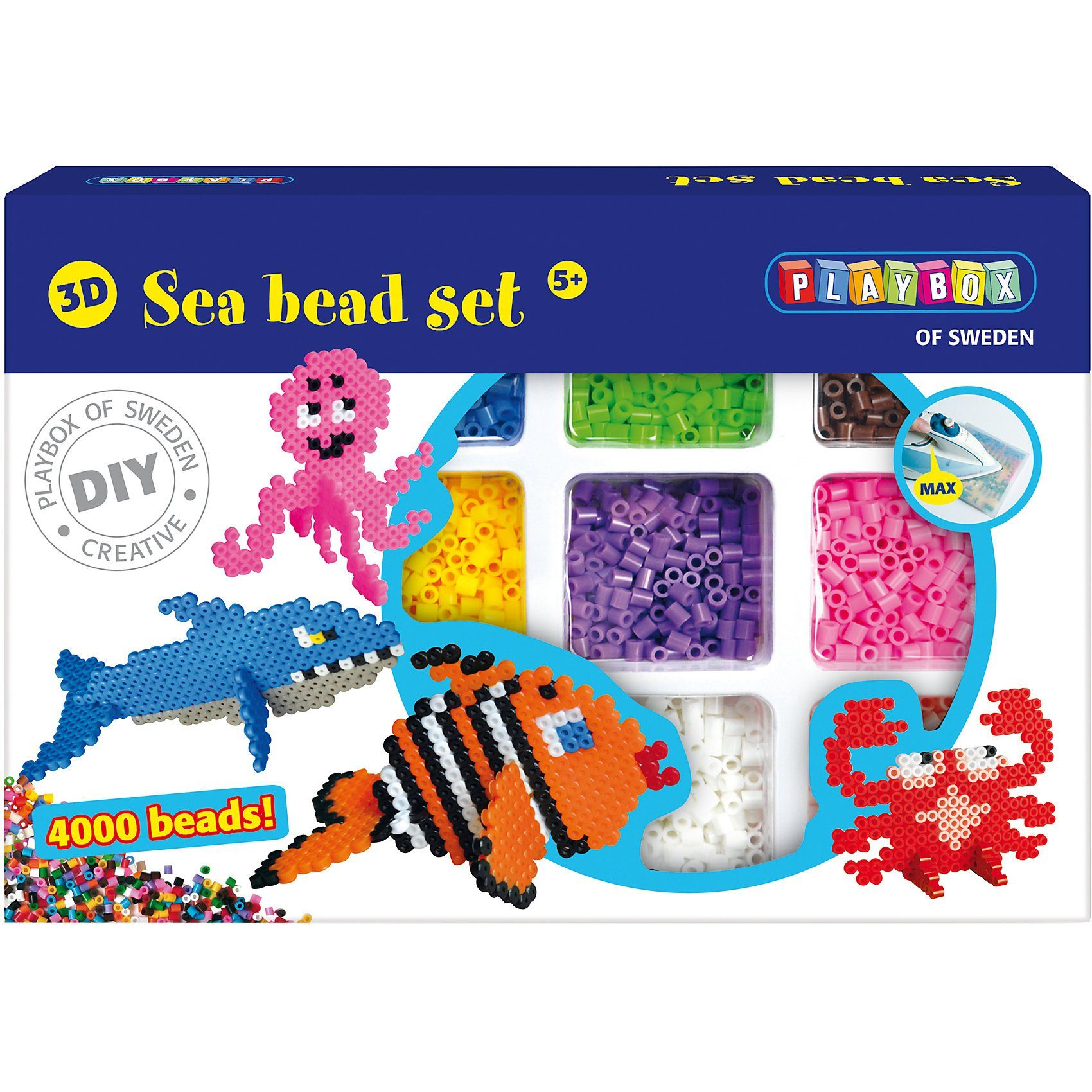 Playbox 3D-Bügelperlen Set Meerestiere, 4.000 Perlen
