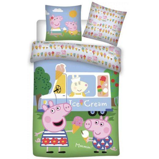 Babybettwäsche »Peppa und Schorsch Eiscreme«, Peppa Pig, 100x135 40x60 cm, 100% Baumwolle