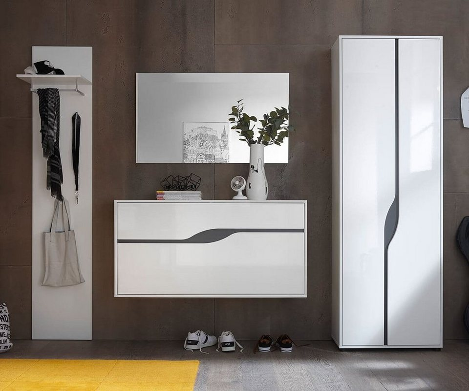 delife garderobe willa weiss hochglanz 265 cm otto. Black Bedroom Furniture Sets. Home Design Ideas