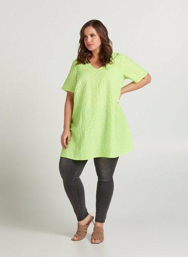 Zizzi Tunika Große Größen Damen Karierte Kurzarm Tunika mit V Ausschnitt und Neonprint