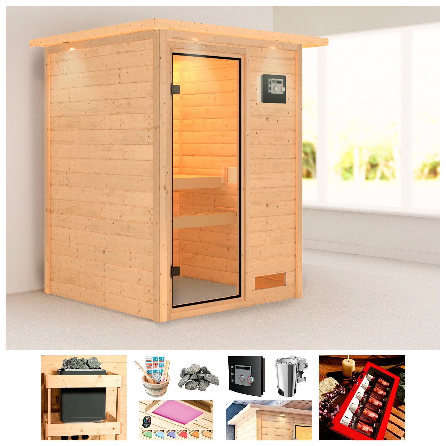 KONIFERA Sauna »Borkum«, BxTxH: 174x160x202 cm, 3,6 kW Bio-Kombiofen, ext. Steuerung