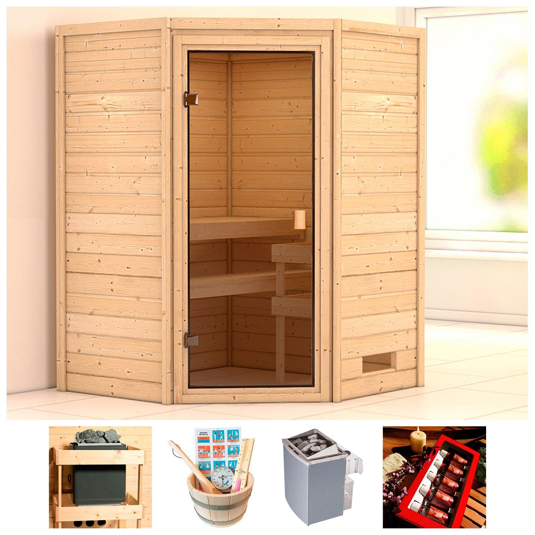 KARIBU Sauna »Wangerooge«, BxTxH: 146x146x187 cm, 9 kW Ofen mit int. Steuerung | Bad | Karibu