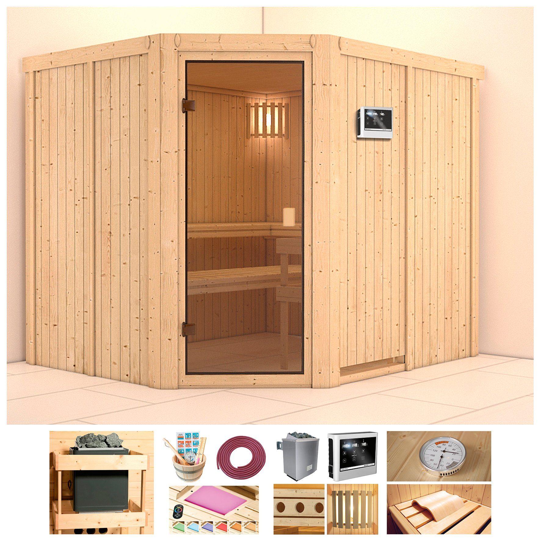 KONIFERA Sauna »Amrum«, BxTxH: 231x196x198 cm, 9 kW Ofen mit ext. Steuerung
