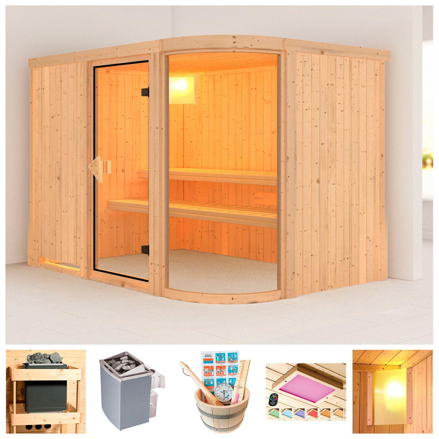KONIFERA Sauna »Föhr«, BxTxH: 231x170x198 cm, 9 kW Ofen mit int. Steuerung